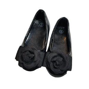 5/$25 - Toddler/Baby Girl Black Rose Ballet Flats